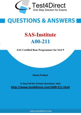 SAS Institute A00-211 Exam - Updated Questions