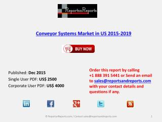 Conveyor Systems Market in the US 2019 – Key Vendors Research and Analysis