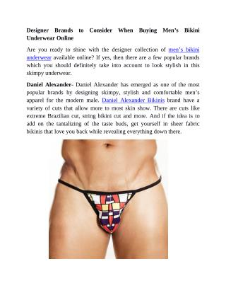 Designer Brands to Consider When Buying Men's Bikini Underwear Online