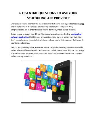 6 Essential Questions To Ask Your Scheduling App Provider