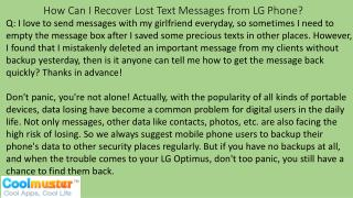 How Can I Recover Lost Text Messages from LG Phone