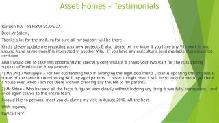 Asset Homes - Testimonials