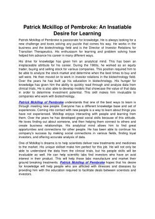 Patrick Mckillop of Pembroke: An Insatiable Desire for Learning