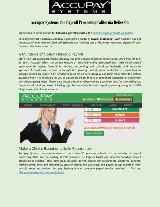 Accupay Systems, the Payroll Processing California Relies On