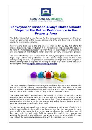 Conveyancer Brisbane Always Makes Smooth Steps for the Better Performance in the Property Area