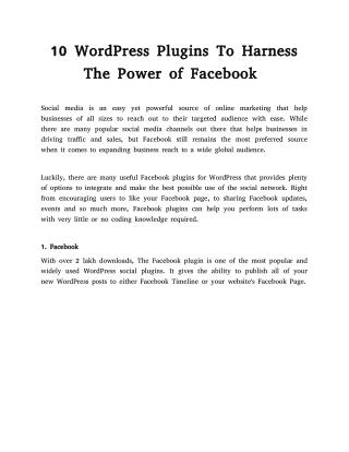 10 WordPress Plugins To Harness The Power of Facebook