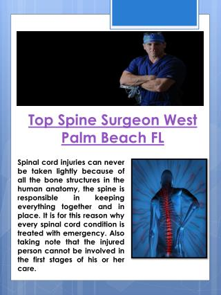 Top Spine Surgeon West Palm Beach FL