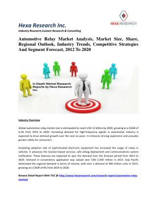 Automotive Relay Market Analysis, Market Size, Regional Outlook And Industry Trends, 2012 To 2020