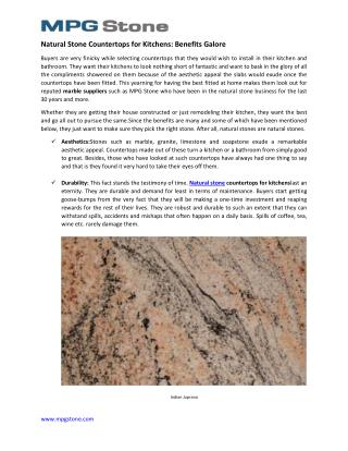 Natural Stone Countertops for Kitchens
