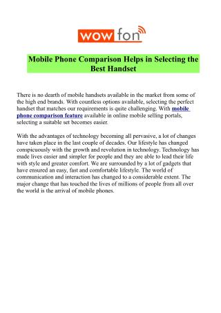 Compare Mobile Phone Price & Features