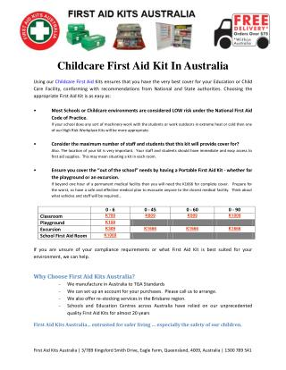 Childcare First Aid Kit In Australia