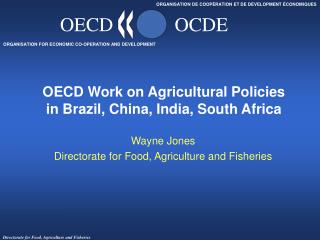 OECD Work on Agricultural Policies  in Brazil, China, India, South Africa