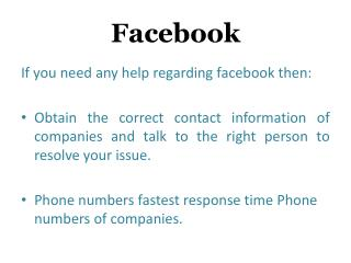 Facebook Customer Service Number for USA and Canada
