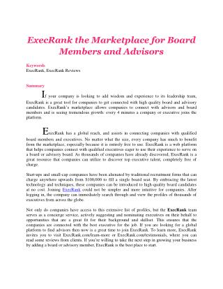 ExecRank the Marketplace for Board Members and Advisors