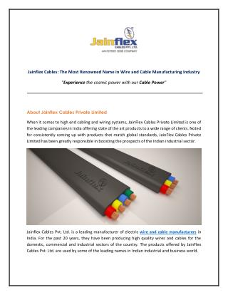 Jainflex Cables - Leading Manufacturer of Wires and Cables