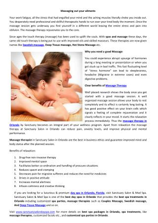 Massaging out your ailments