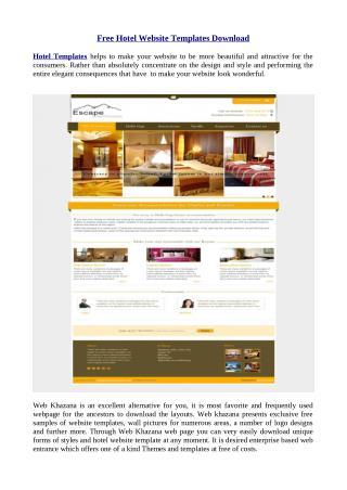 Free hotels website templates download