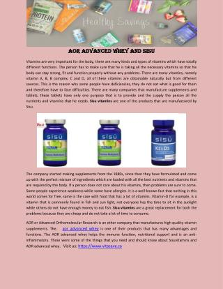 AOR Advanced Whey and SISU