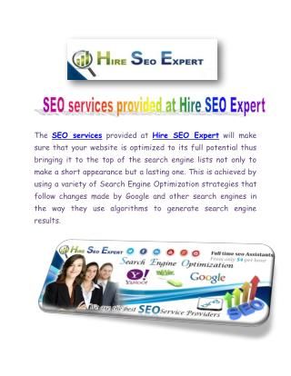 SEO services provided at Hire SEO Expert