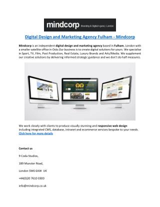 Digital Design and Marketing Agency Fulham - Mindcorp