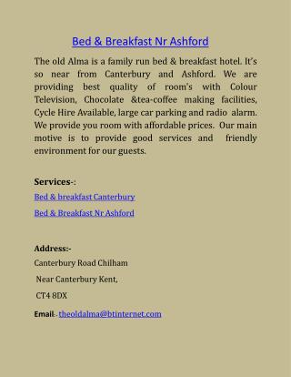 Bed & Breakfast Nr Ashford