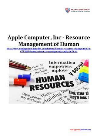 Apple Computer, Inc - Resource Management of Human