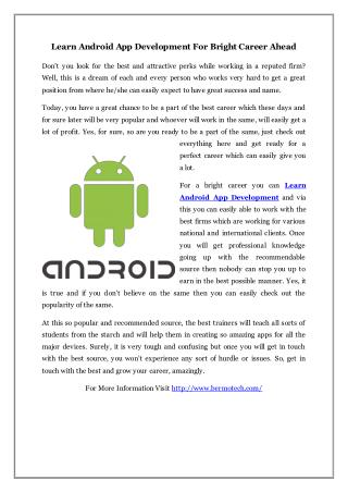 Learn Android App Development For Bright Career Ahead