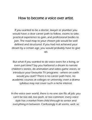 How to be a voiceover artist