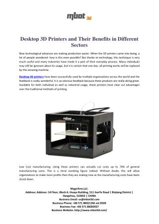 Desktop 3D Printers and Their Benefits in Different Sectors