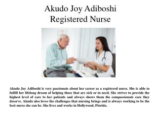 Akudo Joy Adiboshi- Registered Nurse