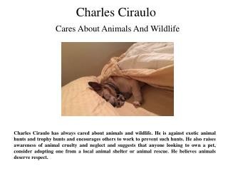 Charles Ciraulo- Cares About Animals And Wildlife