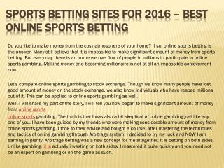 Sports Betting Sites for 2016 � Best Online Sports Betting