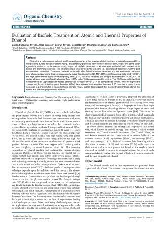 Thermal Properties of Ethanol