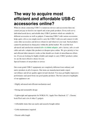 The way to acquire most efficient and affordable USB-C accessories online?