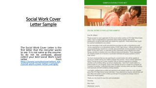Social Work Cover Letter Sample