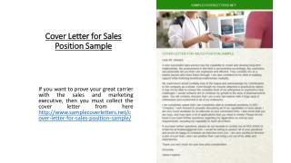 Cover Letter for Sales Position Sample