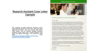 Research Assistant Cover Letter Example