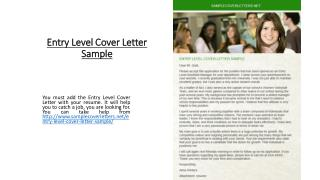Entry Level Cover Letter Sample