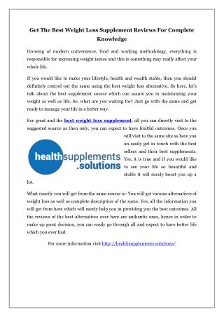Get The Best Weight Loss Supplement Reviews For Complete Knowledge