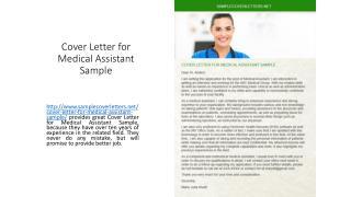 Cover Letter for Medical Assistant Sample