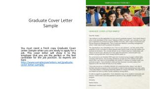 Graduate Cover Letter Sample