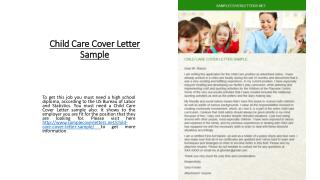 Child Care Cover Letter Sample