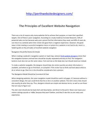 The Principles of Excellent Website Navigation
