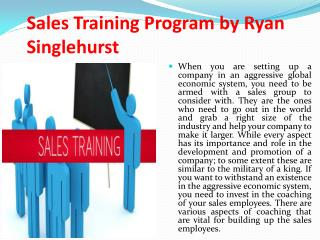 Sales Training Program by Ryan Singlehurst