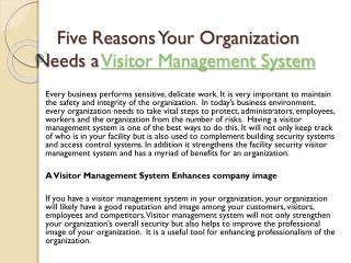 Five Reasons Your Organization Needs a Visitor Management System