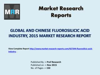 Fluorosilicic Acid Market Trends and 2020 Forecasts for Manufacturers