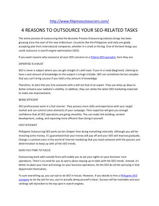 4 REASONS TO OUTSOURCE YOUR SEO-RELATED TASKS