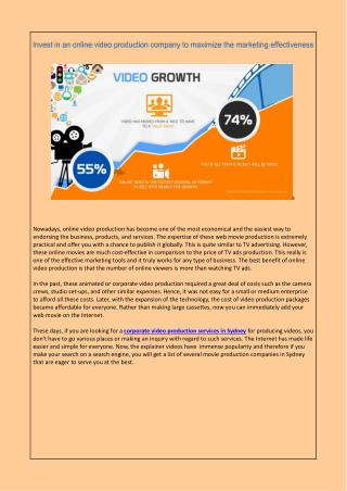 Invest in an online video production company to maximize the marketing effectiveness