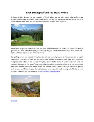 Book Exciting Golf and Spa Breaks Online