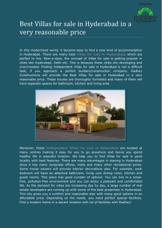 Best Villas for sale in Hyderabad in a very reasonable price